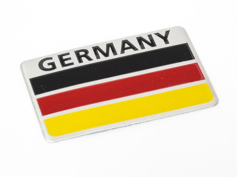 Germany Brushed Steel Sticker Badge (8x5cm)