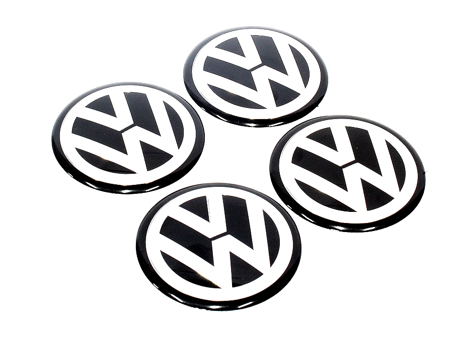 VW Black Dome Decal Mag Wheel Caps-0