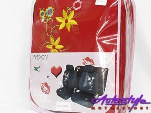 Nexon Flower Pattern Red Seat Cover Set-0