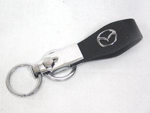 Leather & Chrome Mazda Keyring-0