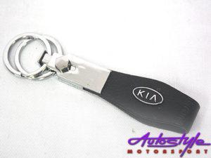 Leather & Chrome Kia Keyring-0
