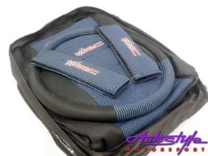 Universal Seat Cover with Steering Cover & Shoulder Pad Kit (blue)-0
