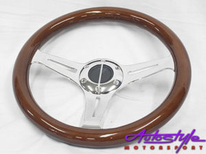 Wood & Chrome Design 330mm Steering Wheel-0