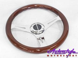 Woodgrain & Chrome 350mm Steering Wheel-0