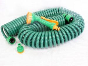 15m Coiled Garden Hose & Attachement Kit-0