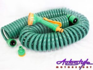 15m Coiled Garden Hose & Attachement Kit-0