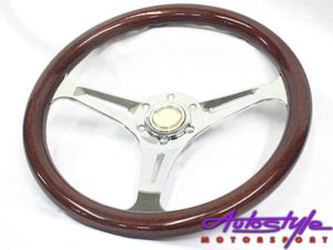 300mm Woodgrain & Chrome Steering Wheel-0