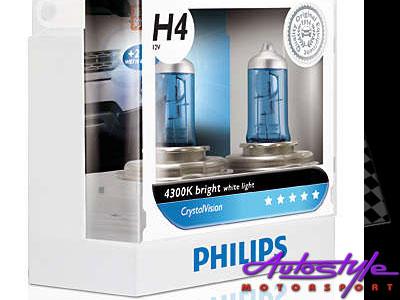 Philips H4 55w CrystalVision Headlight Bulbs-0