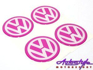 Pink VW Wheel Center Cap Stickers-0