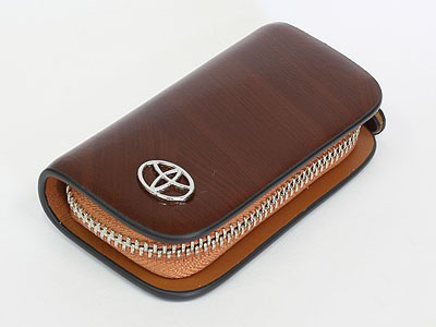 Toyota Tan Leather Zipper KeyChain Wallet