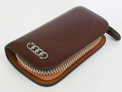 Audi Tan Leather Zipper KeyChain Wallet