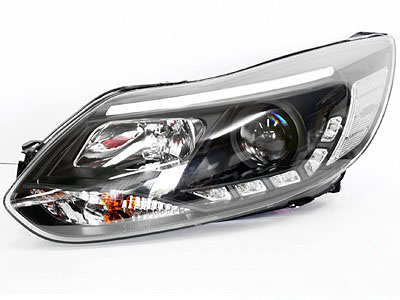 Ford Focus 2011 Black DRL Headlights (pair)
