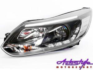 Ford Focus 2011 Black DRL Headlights (pair)-0