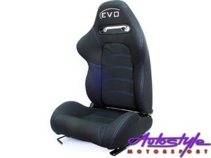 Evo Reclinable Racing Seats - Black with Blue Stitch-0