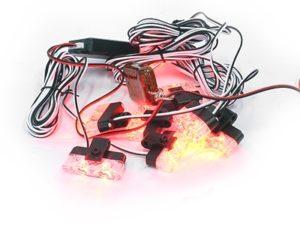 White LED Grille Mount Strobe Light Kit (red)-0