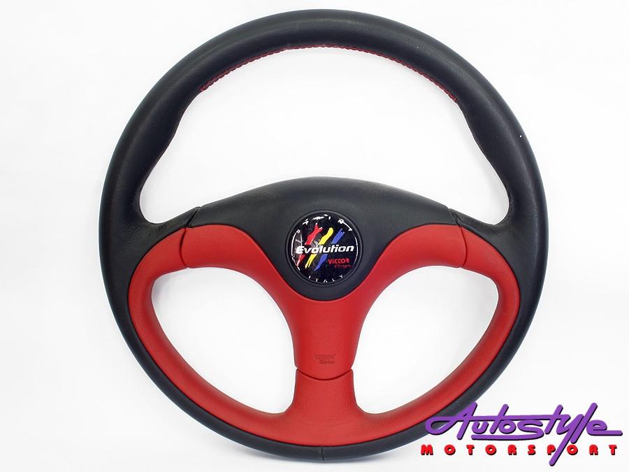 Victor Tuning Matt Red & Black Steering Wheel-0