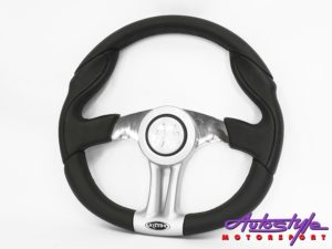 Victor Top Gun Chrome & Black Leather Steering Wheel-0