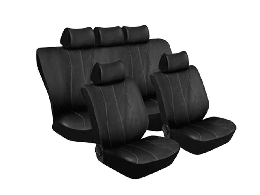 Stingray Galaxy Leather Look 11pc Seat Cover Set (silver stitch)