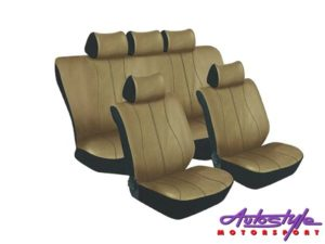 Stingray Galaxy Leather Look 11pc Seat Cover Set (beige)-0