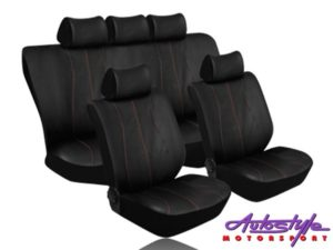 Stingray Galaxy Leather Look 11pc Seat Cover Set (red stitch)-0