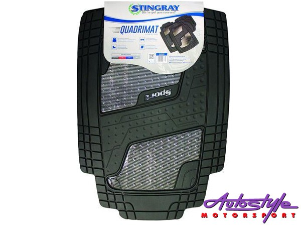 Stingray Quadrimate 4pc Rubber Car Mats (carbon fibre)-0