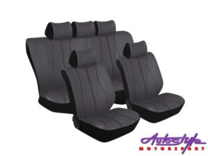 Stingray Galaxy Leather Look 11pc Seat Cover Set (grey/black)-0