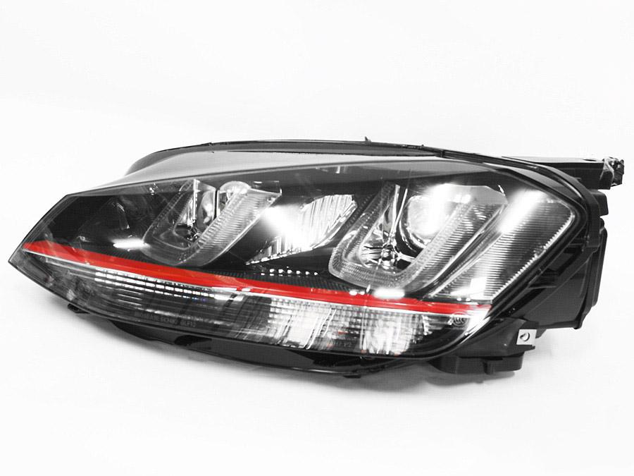 VW Golf Mk7 DRL Black/Red Head Lamps (pair)