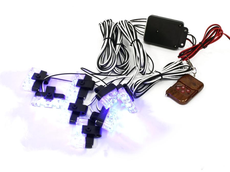 White LED Grille Mount Strobe Light Kit (blue)
