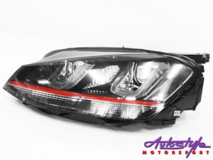 VW Golf Mk7 DRL Black/Red Head Lamps (pair)-0
