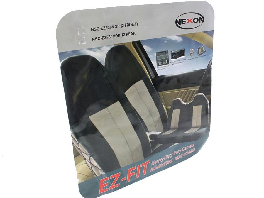 NX EZ-Fit Canvas Front Seat Covers (mocha brown)