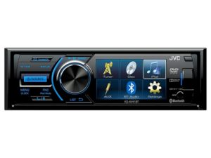 "JVC KD-AV41BT 3"" Single-Din Car Receiver with Bluetooth, DVD, USB, Remote and IPhone Control -0"
