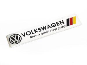 VW German Flag Brushed Alluminium Sticker Badge (12cm)-0