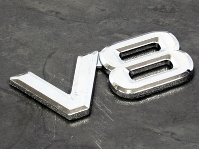 V8 Performance Chrome Sticker Badge