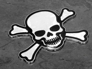 Skull and Bones Chrome Sticker Badge-0