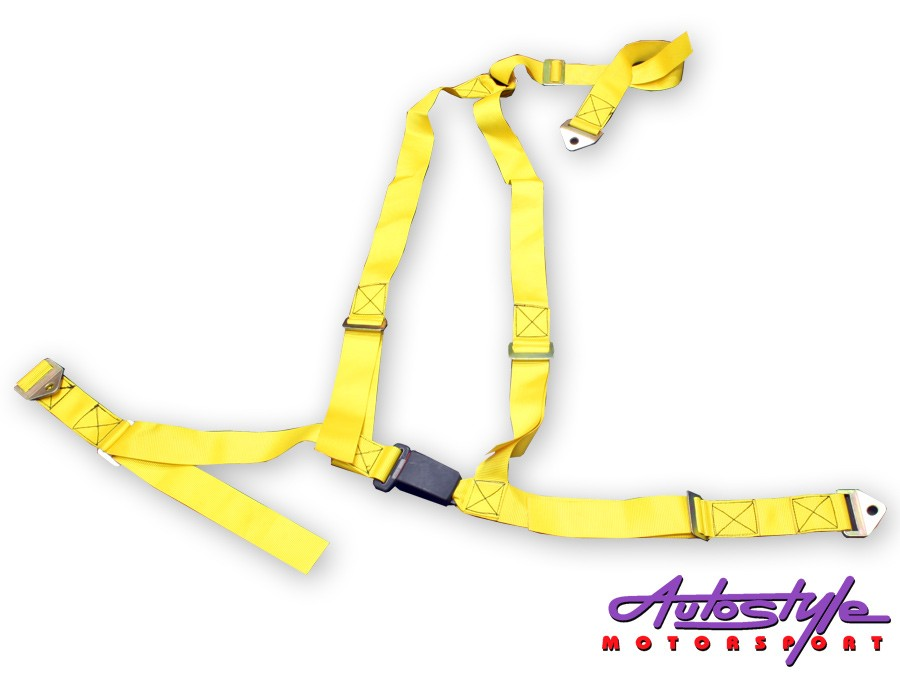 Yellow Racing Seat 3point Harness -0