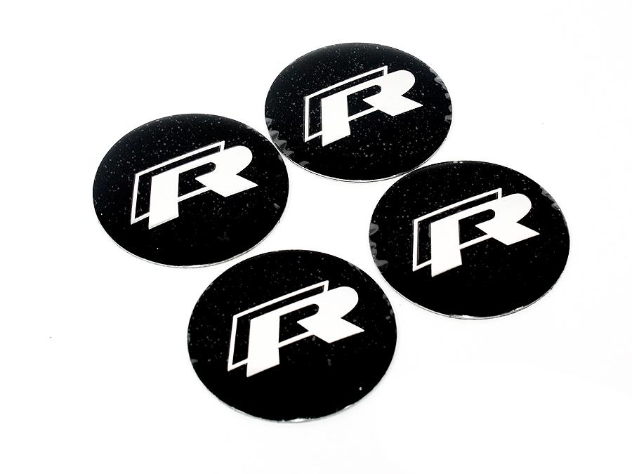 VW R Racing Black Mag Wheel Decals (set of 4)-0