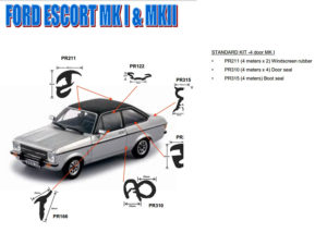 Replacement Rubber Kit for Ford Escort Mk1 68-75 4door-0