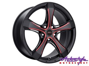 "18"" A-line Ashton 5/114 Gloss Black With Red Insert Alloy Wheels-0"