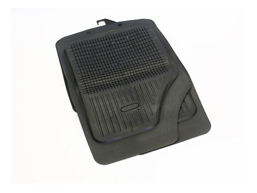 Universal Black Rubber Car Mats Grid Design