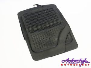 Universal Black Rubber Car Mats Grid Design-0