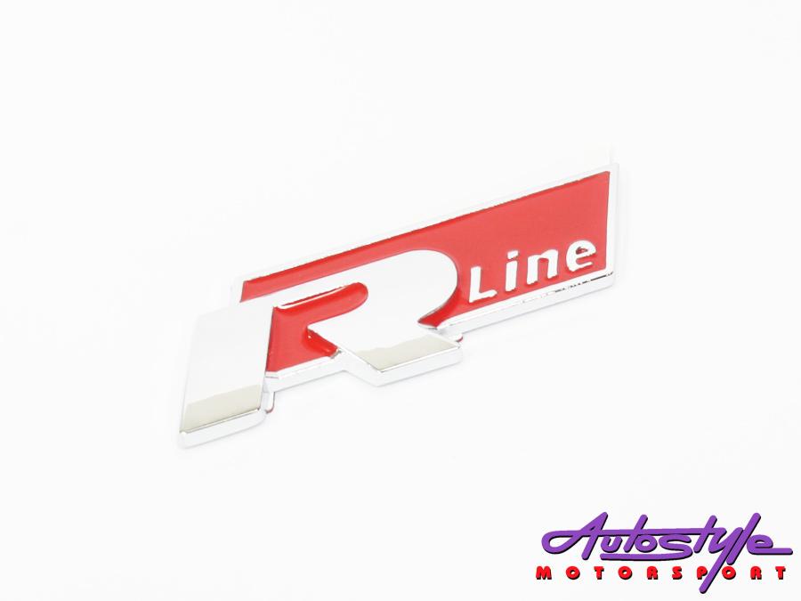 R-line Red & Chrome Sticker Badge-0