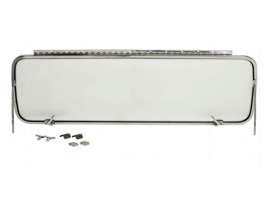 VW Bus Rear Safari Window Kit finished in Stainless Steel