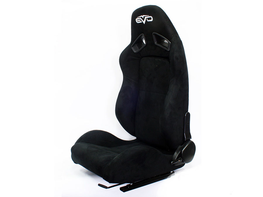 Evo Tuning Black Suede Reclinable Racing Seats (pair)
