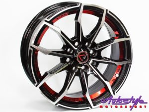 "15"" GR 245 4/100 & 4/108 BKMF & Red Alloy Wheels-0"