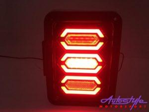 Jeep Wrangler Honeycomb LED Smoked Tailights (pair)-30212