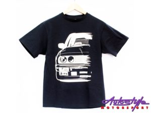 Bmw E30 Silhouette Design T-Shirt – 13-14yo kids size (asst colours)-0