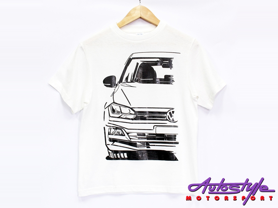 VW Polo Silhouette Design Tshirt - X Small Adult size (asst colours)