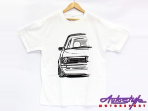VW Golf Mk1 Silhouette Design T-Shirt – 13-14yo kids size (asst colours)-0