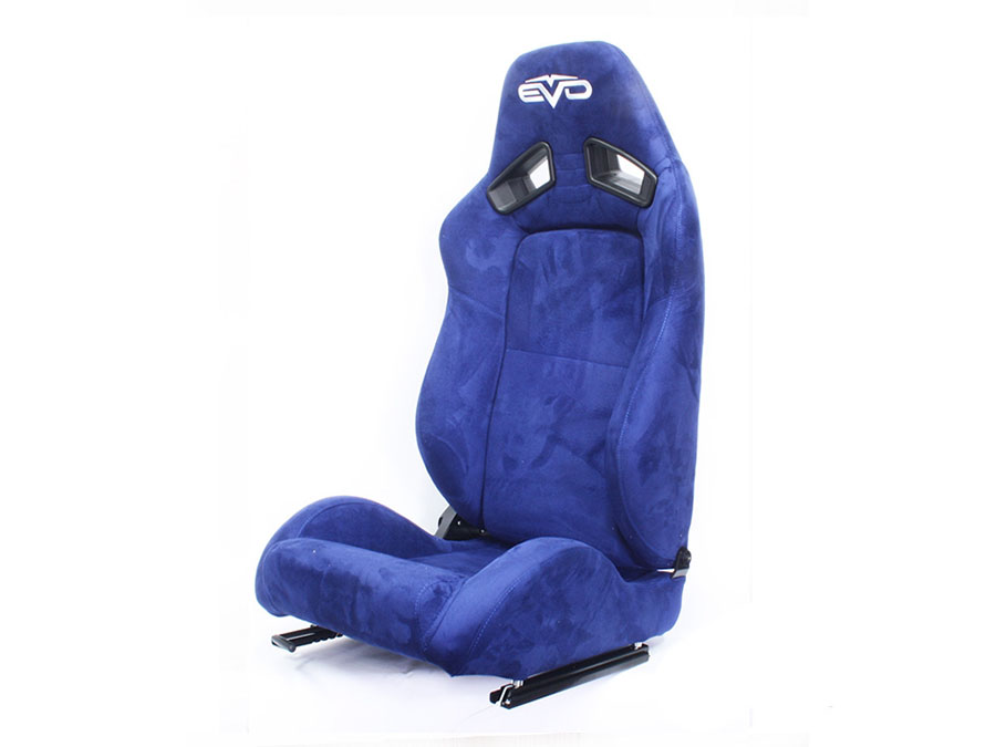 Evo Tuning Blue Suede Reclinable Racing Seats (pair)