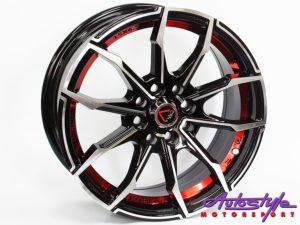 "15"" GR 245 4/100 & 4/108 BKMF & Red Alloy Wheels-0"